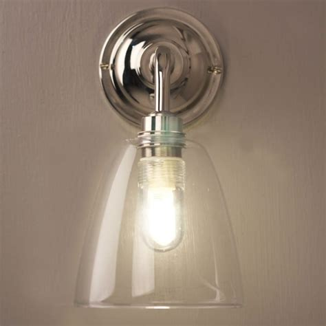 pluckley bathroom wall light with clear glass shade