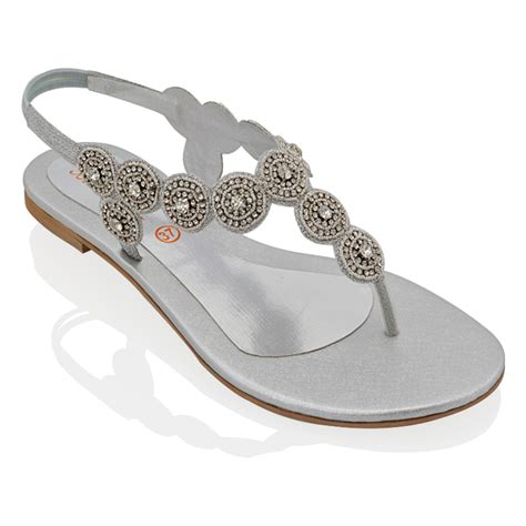 womens sling  flat diamante ladies sparkly summer