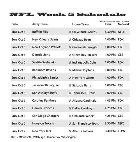 nfl week  schedule