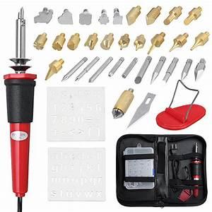 37pcs, Electric, 110v, Diy, Wood, Burning, Tool, Pyrography, Pen, Kit, Wooden, Soldering, For, Wood, Burning