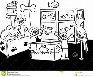 Pet Store Black And White Clipart