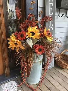 Fall, Decor, Galvanized, Milk, Jug, Sunflowers, Flowers, Porch, Decor