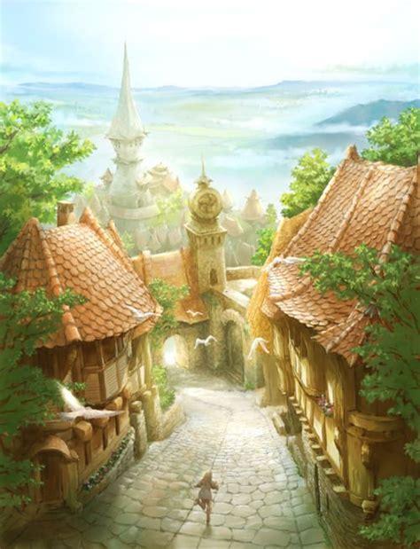 town sunny poetic art   fantasy art fantasy