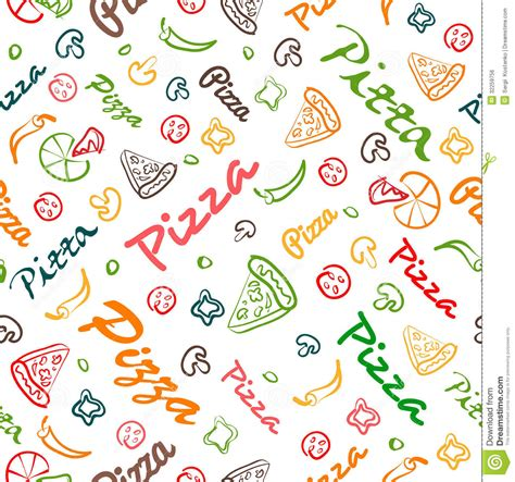 pizza seamless pattern with hand drawn elements royalty