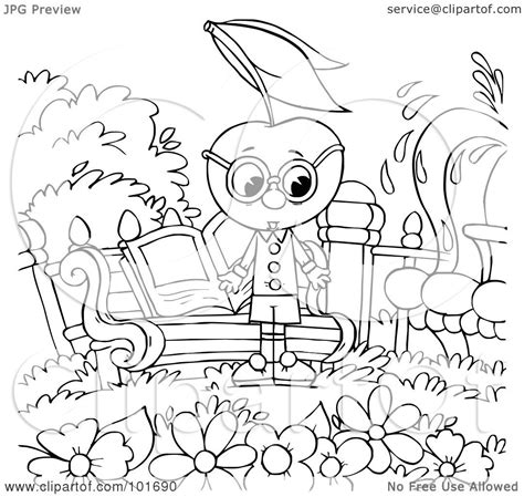royalty  rf clipart illustration   coloring page outline   cherry head   garden