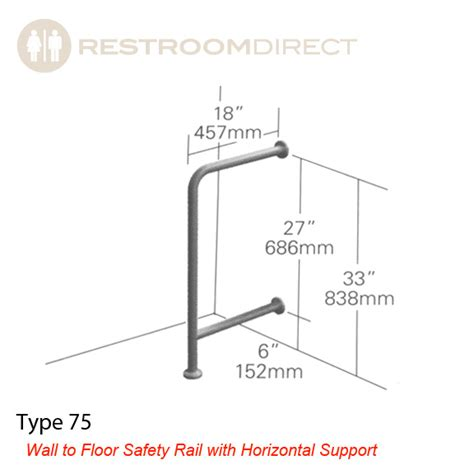 ada toilet height requirements asi type 75 stainess steel grab bar wall to floor