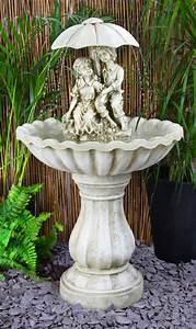 H93cm Rainy Days Ivory Effect Bird Bath Fountain With