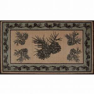 Pine cone bath rug cabin place for Cabin bathroom rugs