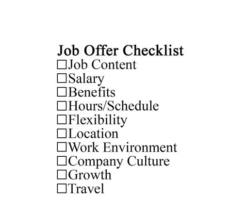 job offer checklist to evaluate a offer