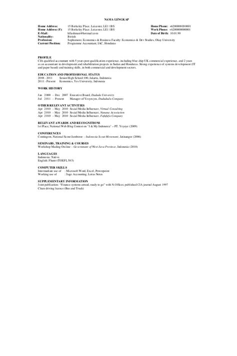 Contoh Resume Yang Baik by Contoh Cv Dalam Bahasa Inggris