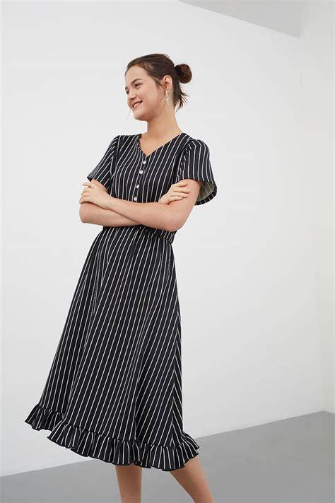 521 Midi Dress Bahan Scuba sell mimdy pleated buttoned up dress black midi dresses