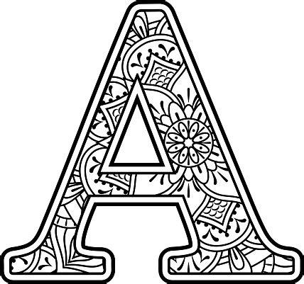 Elsa anna flowery mandala svg. Mandala Art Coloring Letter A Stock Illustration ...