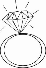 Ring Diamond Engagement Clipart Silhouette Coloring Clip Panda sketch template