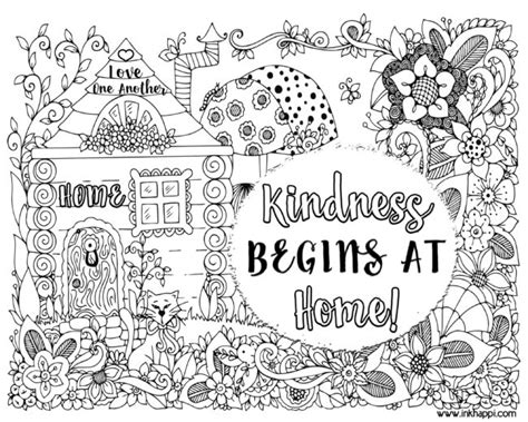 kindness begins  home  coloring page   message