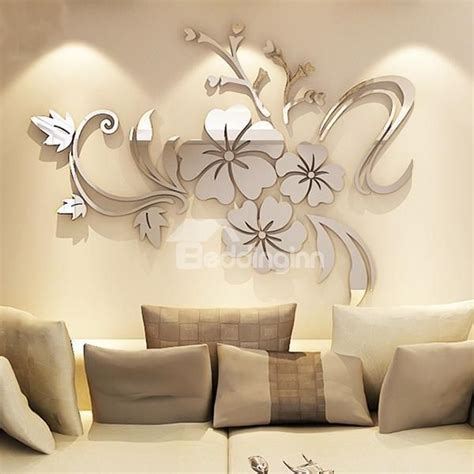 modern beautiful mirror flowers shape wall stickers