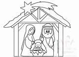 Nativity Scene Christmas Jesus Coloring sketch template