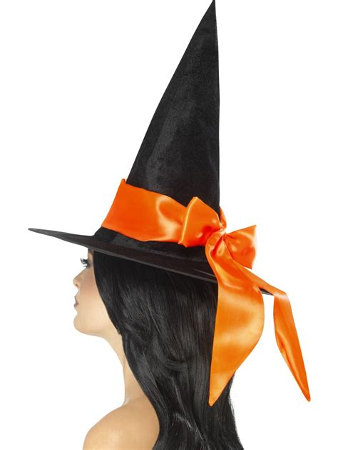 orange witch hat deluxe witch hat with orange bow 48022 fancy dress ball