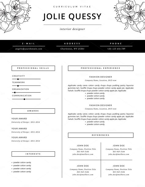 Resume Templates G by Fashion Resume Template Cv By This Paper Fox On Creative