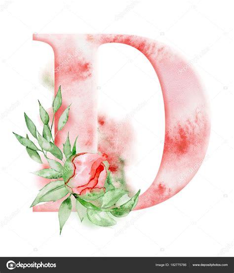 floral watercolor alphabet monogram initial letter