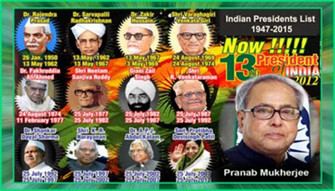 Indian Presidents List 1947-2015 Presidents of India List