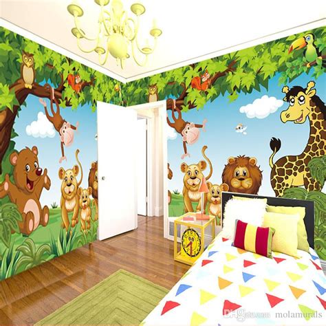 Wallpaper With Animals For Rooms - wall mural forest animals animation children room