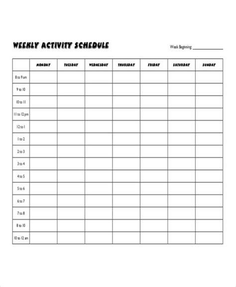 Weekly Activity Schedule Template - 6+ Free Word, PDF ...