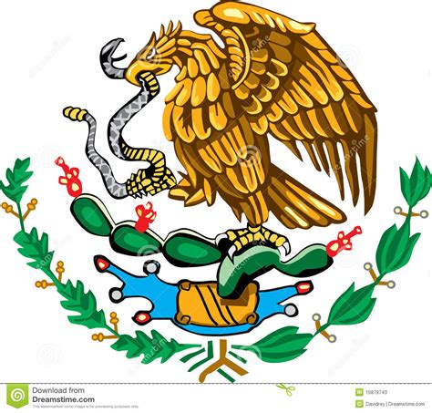 Mexican coat of arms color stock vector. Illustration of ...