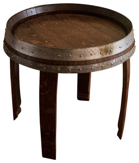 how tall are end tables banded wine barrel side table 22 quot tall farmhouse side