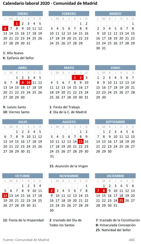 regional el calendario laboral de pocos