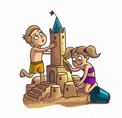 Sand Castle Cartoon Building Summer Clipart Fun