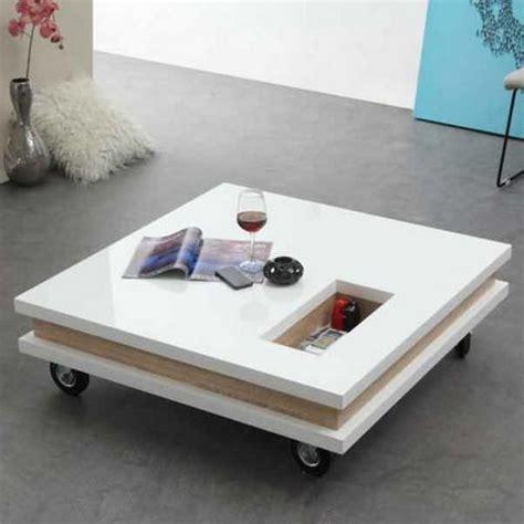 bureaux soldes table basse carrée 100 cm roulettes plateaux epais