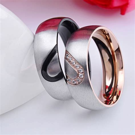sale simple titanium steel plated couple rings for men wedding rings ebay