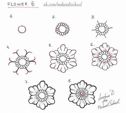 Henna Tutorial Flower Mehndi Zentangle Drawing Patterns