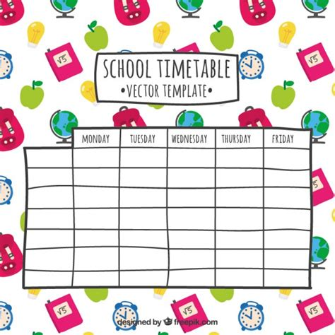 timetable numbers template pin school timetable template blank printable on pinterest