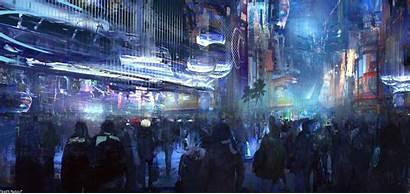 Cyberpunk Futuristic Digital Artwork Wallpapers Street Night