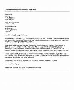 Resume Adjunct Professor Cosmetology Cover Letter Sample Cosmetology Cover Letter