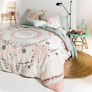 Housse de couette pur coton tarjani imprime blanc la for Amenagement chambre ado avec taille housse couette enfant