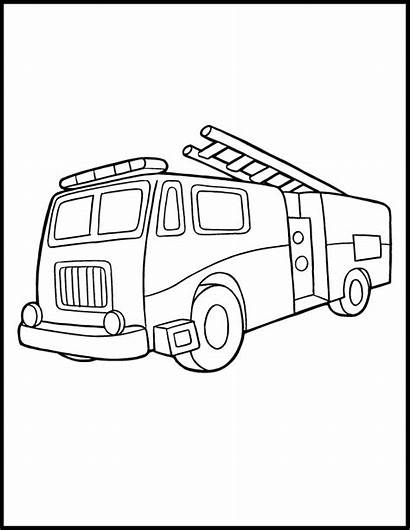 Fire Coloring Truck Pages Printable Engine Drawing
