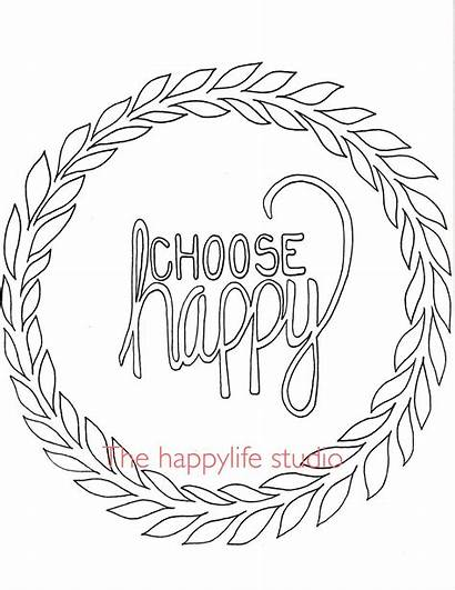 Coloring Positive Pages Adults Simple Adult Happy
