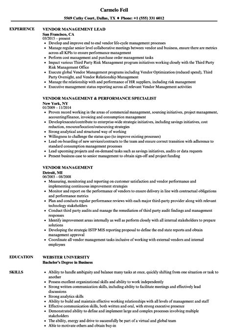 resume format for vendor management vendor management resume sles velvet