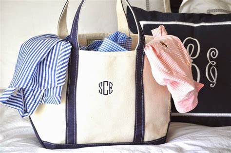 ll bean boat  tote monogrammed canvas tote jazz