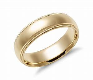 milgrain comfort fit wedding ring in 14k yellow gold 6mm With comfort fit wedding rings