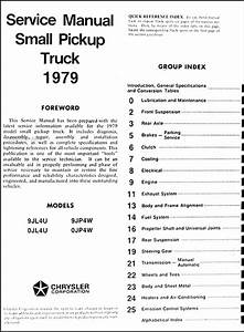 1979 Dodge D50 Plymouth Arrow Repair Shop Manual Original