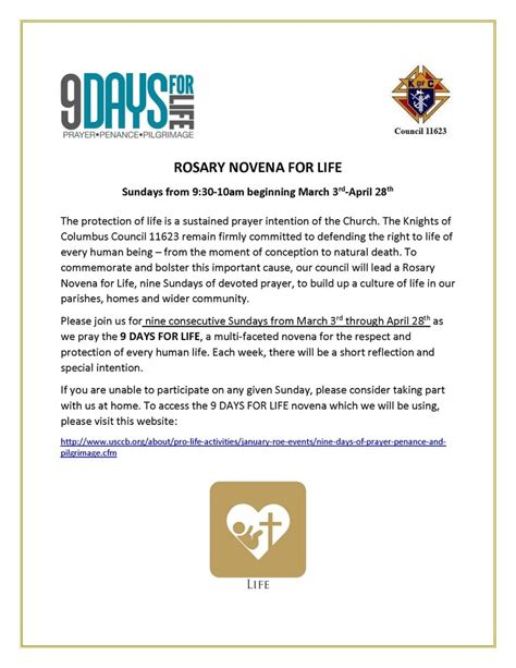 rosary novena life pope st pius church coeur dalene id