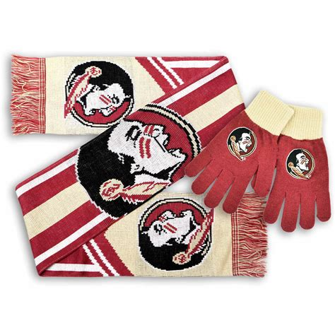 college florida state seminoles knit gloves  scarf set