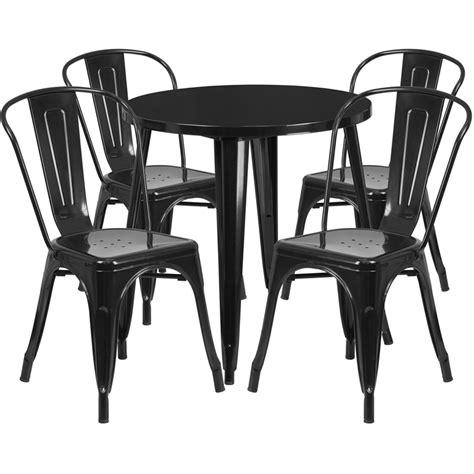 30 black metal indoor outdoor table set with 4