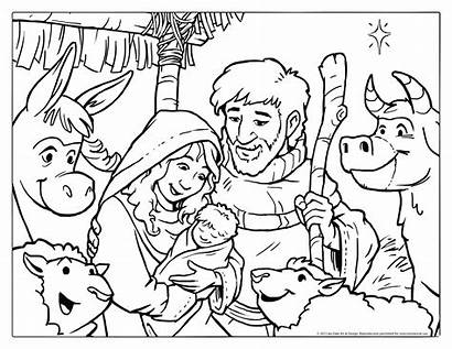 Coloring Christmas Nativity Pages Printable Scene Jesus