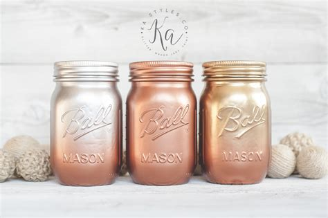 mason copper metallic ombre paint jars spray jar gold colors painted silver painting pink glitter crafts rust round finish tips