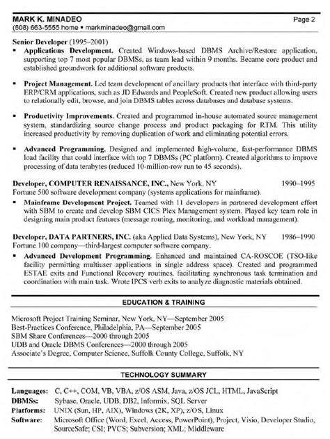 Exle Of Software Engineering Resume by Senior Software Developer Resume Sales Developer Lewesmr