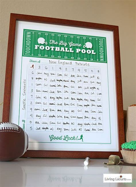 football squares  printable party game football